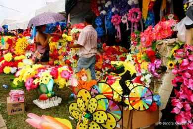 Bij de kraampjes kun je plastic bloemen in alle soorten en maten kopen.