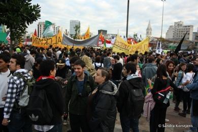 Demonstranten verzamelen zich op het Largo da Batata in São Paulo