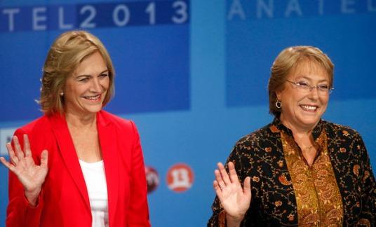 Evelyn Matthei en Michelle Bachelet